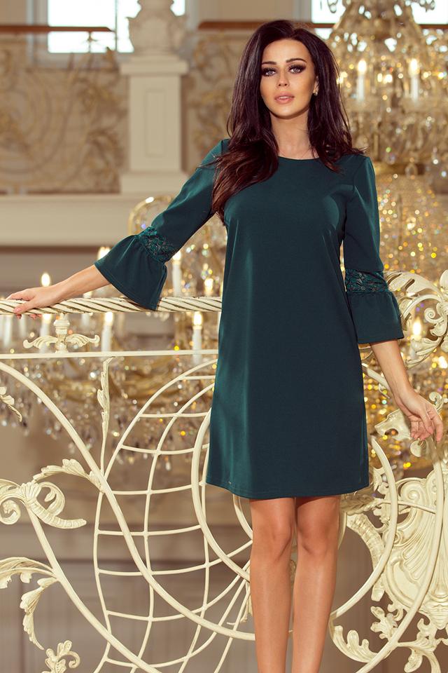 Dámské šaty v lahvově zelené barvě s krajkou na rukávech 190-7 MARGARET - S