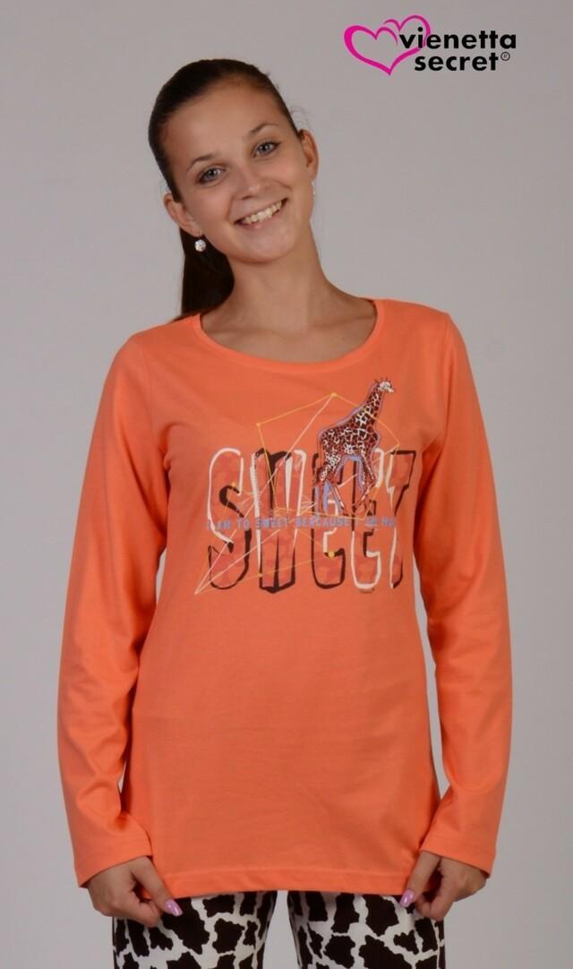 Dámské pyžamo dlouhé Žirafa Sweet 4363 - Vienetta - XL - modro-růžová