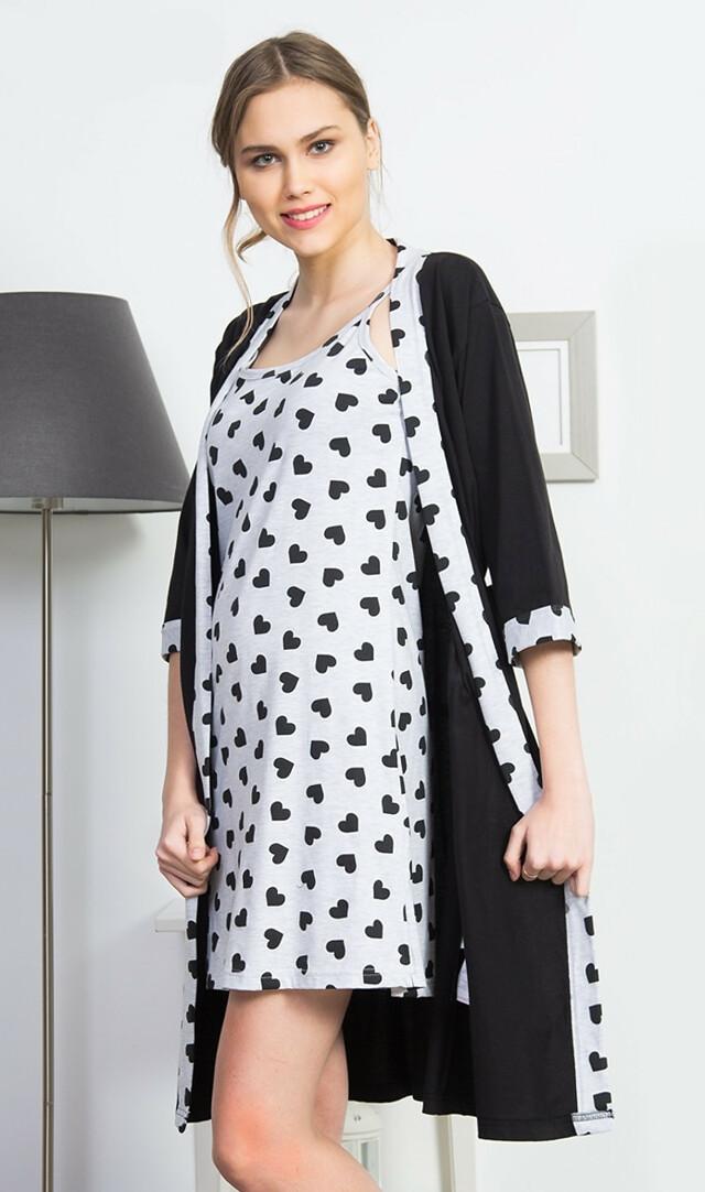 Dámský župan s noční košilí na ramínka Srdíčka - Vienetta - XL - černo-šedá