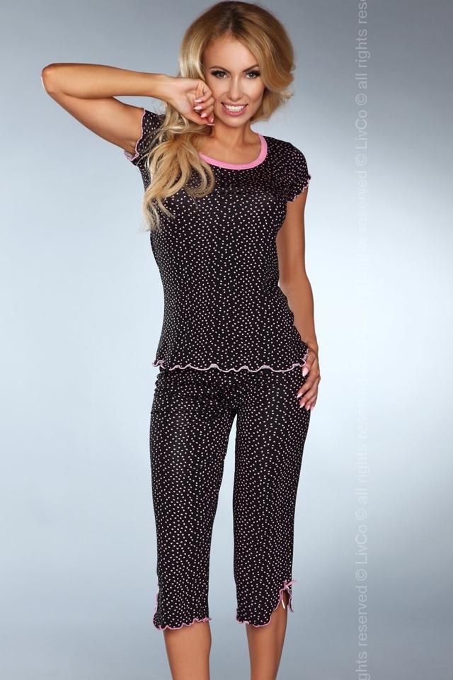 Dámské pyžamo Model 105 - S/M - černo-růžová