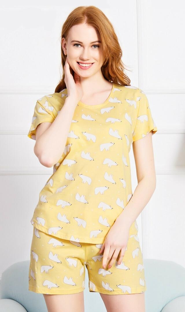 Dámské pyžamo šortky Lední medvědi - žlutá XL