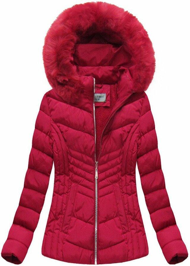 Červená dámská zimní bunda s kapucí (B1060-30) - XL (42) - červená
