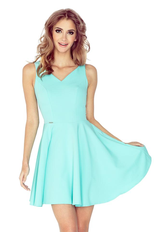 Mátově zelené šaty s kolovou sukní MM 014-4 - L