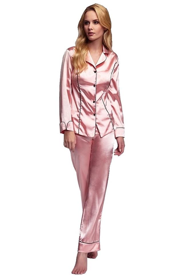 Luxusní saténové pyžamo Hayley lososové - S