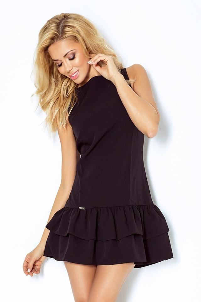 Černé šaty s volánky 113-2 - L