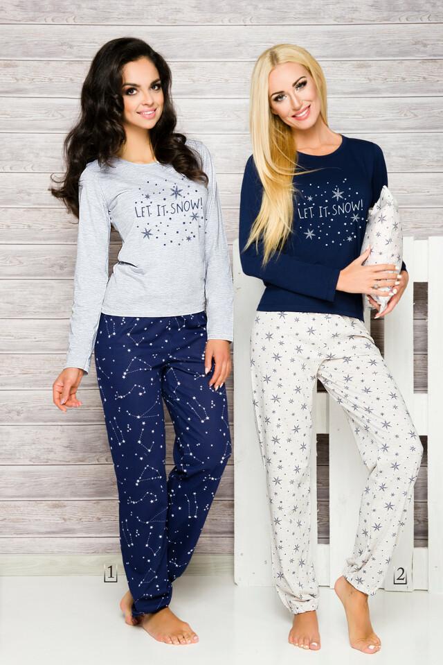 Dámské pyžamo Taro Daga 965 dl/r S-XL N - XL - šedá-tm.modrá