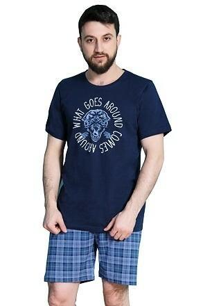 Krátké pánské pyžamo Ozzy tmavě modré - XL