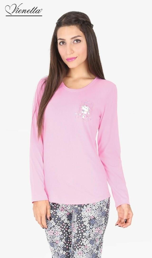 Dámské pyžamo dlouhé Malá Kočka - korálová L