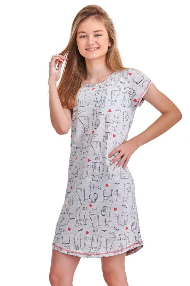 Noční košile Inka šedá kočky - 146