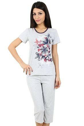 Bavlněné dámské pyžamo Flowers - XL