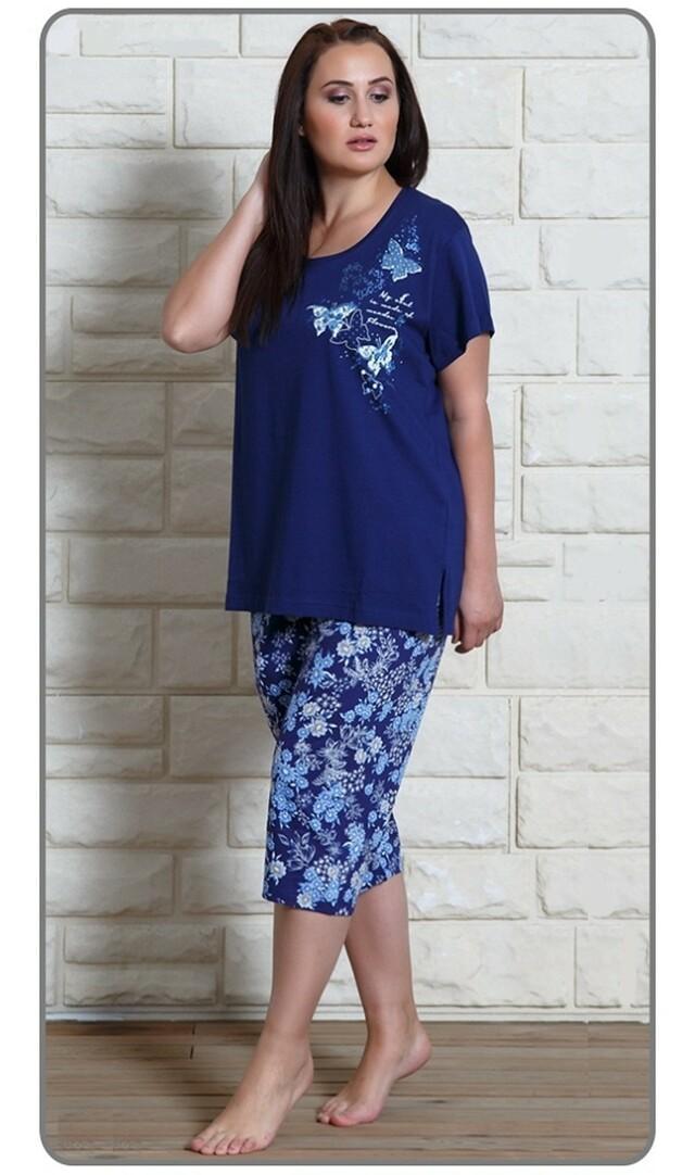 Dámské pyžamo kapri Motýli na louce - tmavě modrá XXL