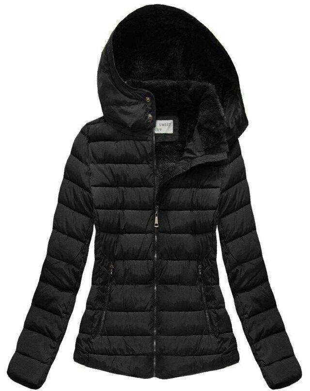 Černá dámská zimní bunda s kapucí (B3591) - XXL (44) - černá