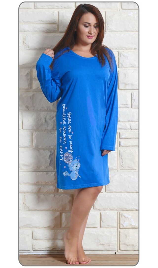 Dámská noční košile s dlouhým rukávem Angela - malinová XXL