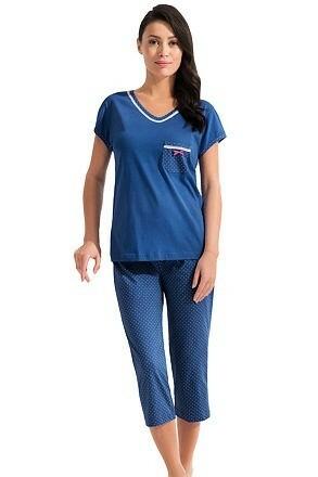 Dámské modré bavlněné pyžamo Erika - M