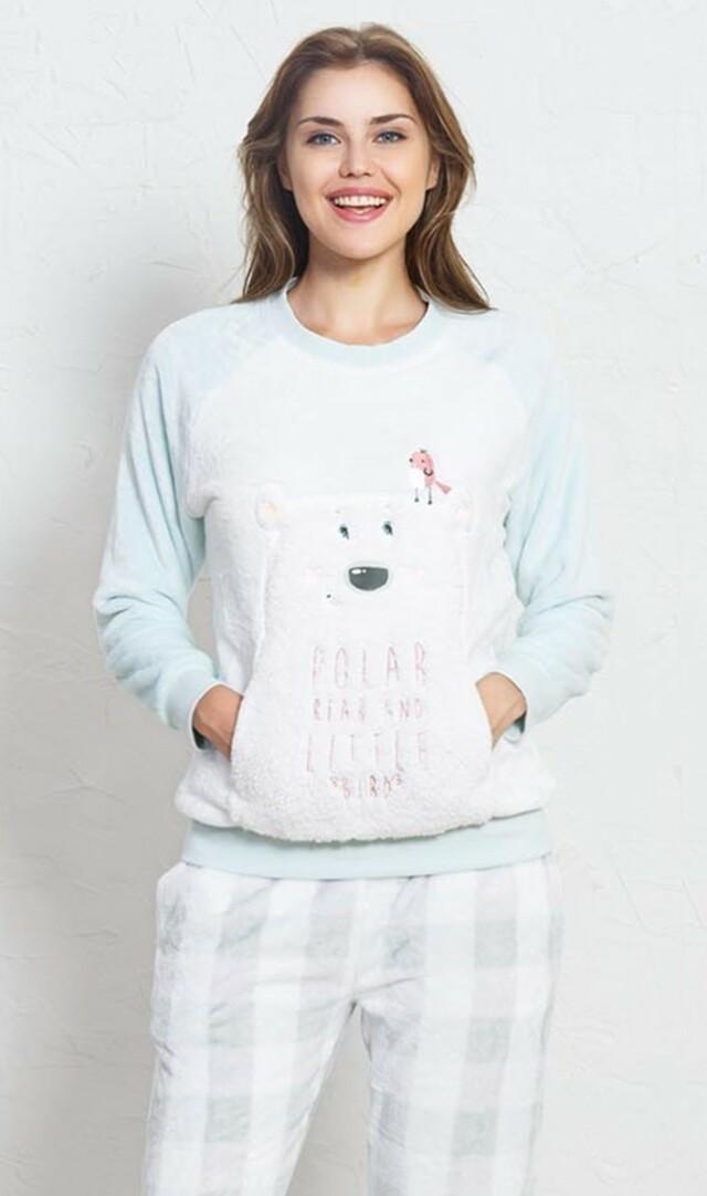 Dámské pyžamo dlouhé Polar bear - smetanová S