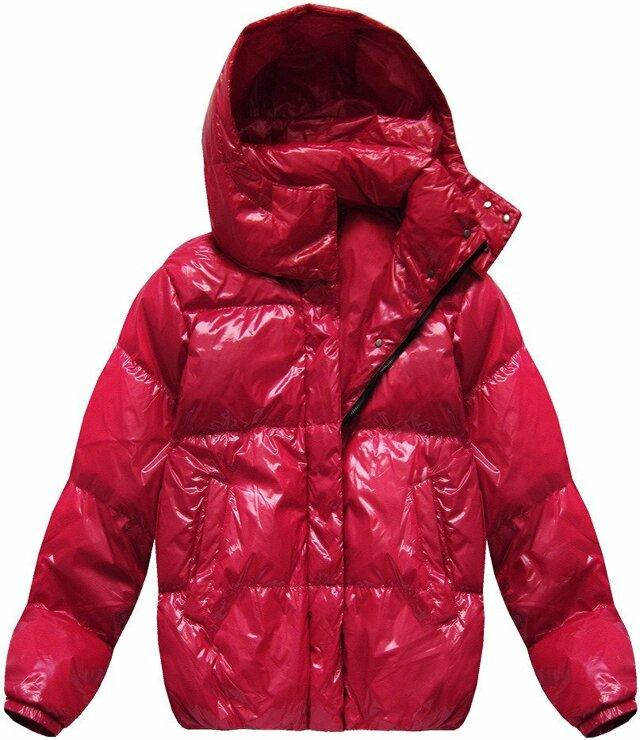 """Červená lesklá bunda typu """"oversize"""" (7121) - L (40) - červená"""
