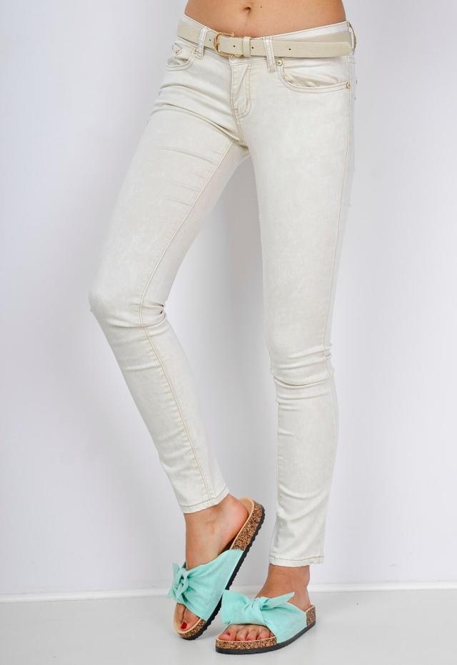 Dámské mramorované barevné džíny s opaskem - XXS - Zelená