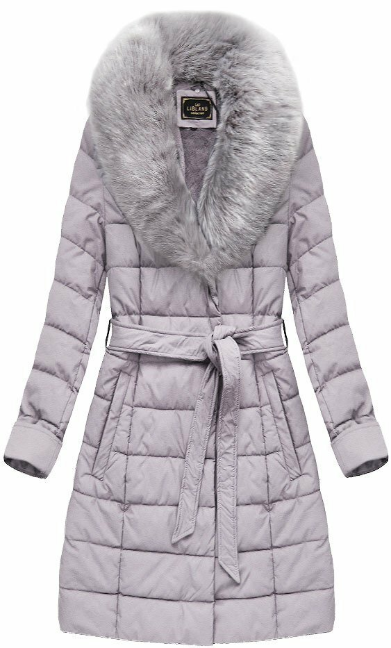 Kabátek ve vřesové barvě z eko kůže, s kožíškem (5527BIG) - 46 - fialová