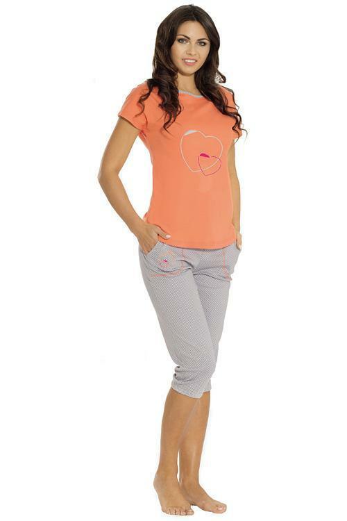 Dámské pyžamo Luna 634-1 - XXL - pomerančová-šedá