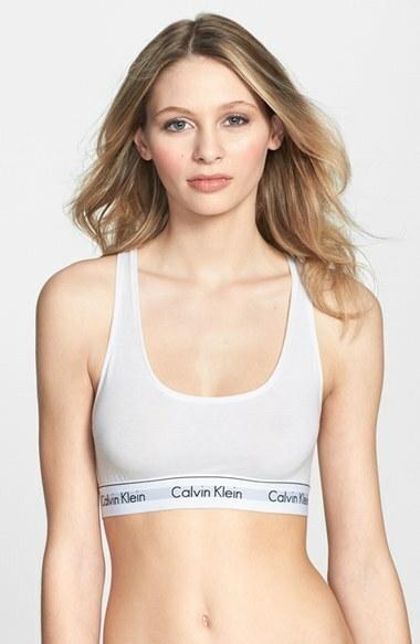 Podprsenka sportovní Bralette Modern Cotton F3785E100 bílá - Calvin Klein