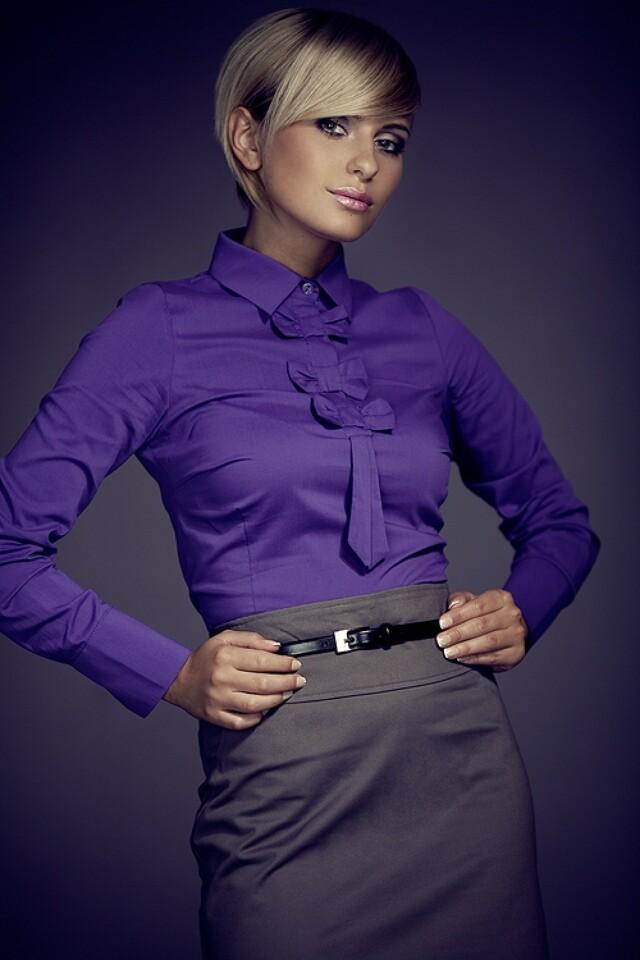 Dámská košile M001 dark violet - S - fialová
