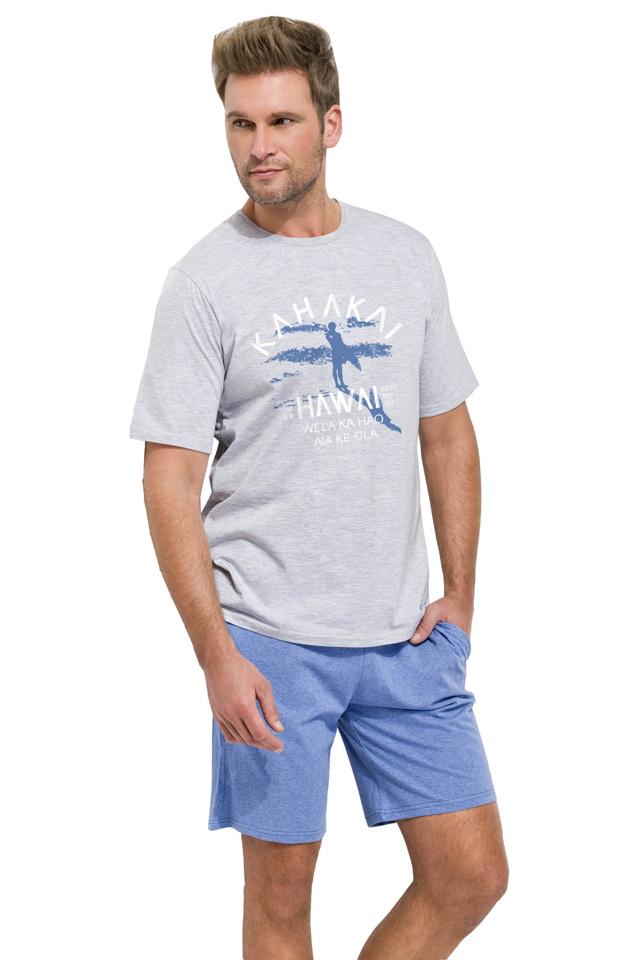 Krátké pánské pyžamo Karel světle šedé - XL