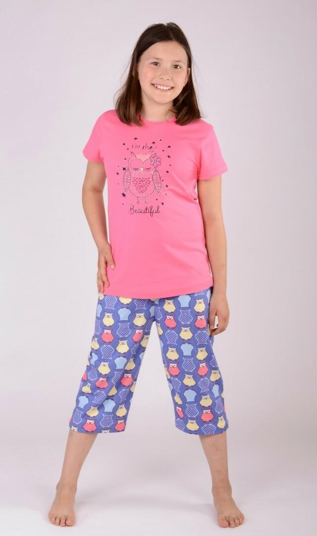 Dětské pyžamo kapri Sova - lososová 9 - 10