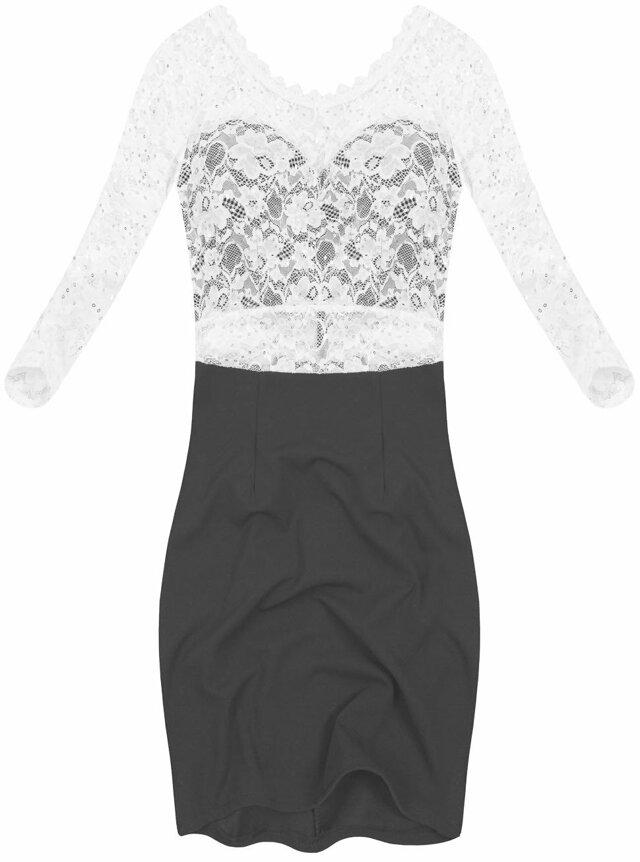 Černo-bílé šaty s výstřihem na zádech (88141) - L (40) f2cf067785