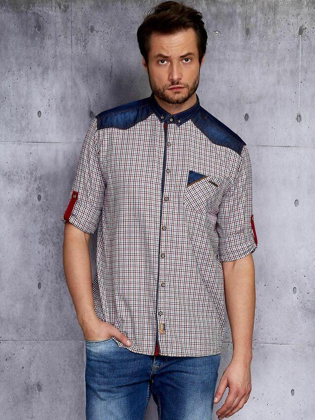 Pánská košile s rukávy v kostkovaném vzoru PLUS VELIKOST - XXL