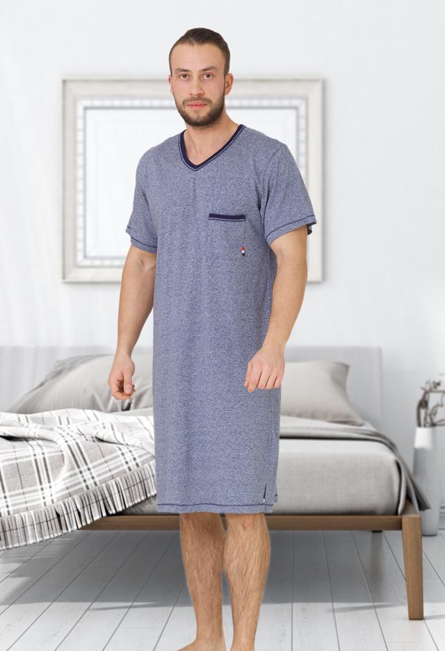 Pánská noční košile M-Max Baltazar 609 kr/r M-2XL - M - tmavě modrá