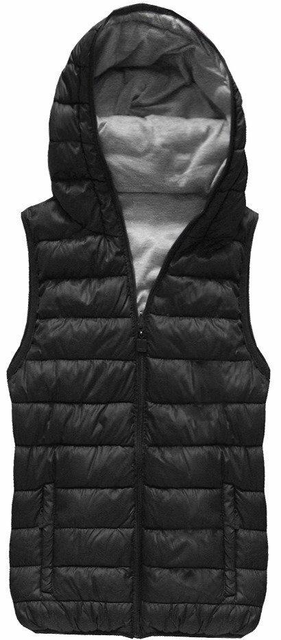 Černá oboustranná vesta s kapucí (B1002) - S (36) - černá