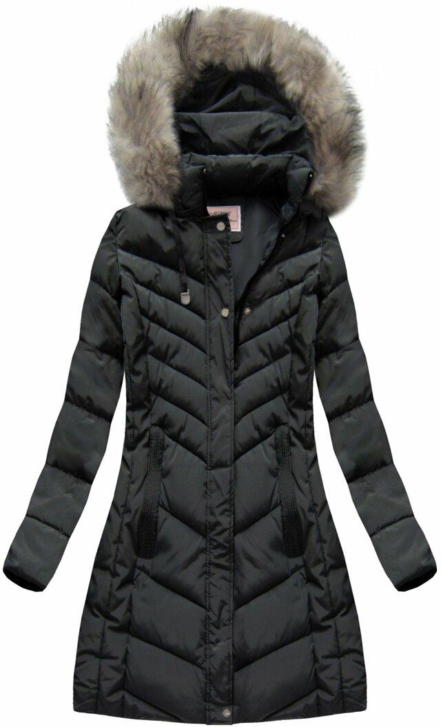 Černá dámská zimní bunda s kapucí (W735) - XL (42) - černá