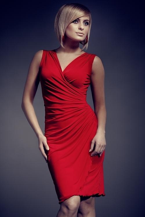 Dámské šaty M053 red - M - červená
