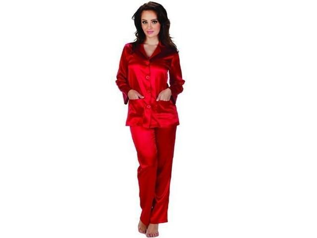 Dámské saténové pyžamo Classic 934 - De Lafense - XL - perlová