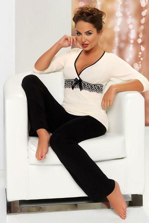 Dámské pyžamo Donna Andrea PJ - XXL - černá-krémová