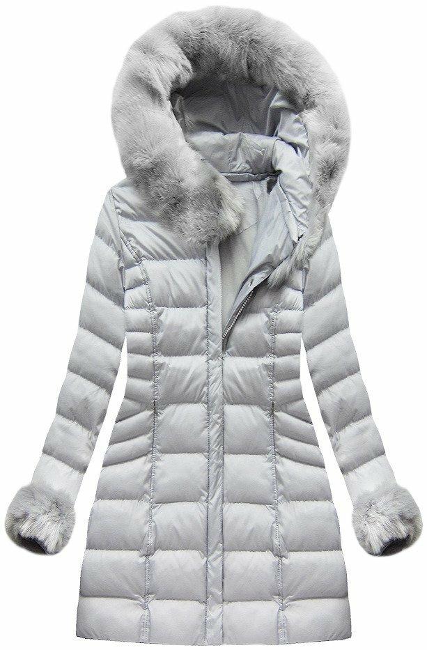 Šedá dámská zimní bunda (W751BIG) - 46 - šedá