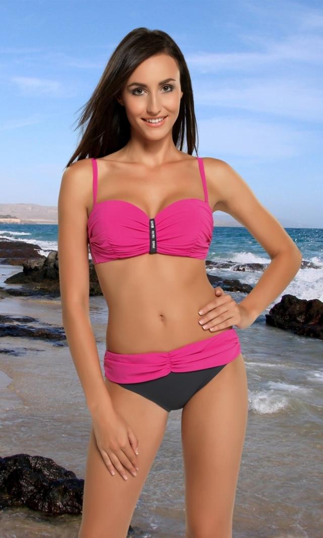 Dámské plavky Ismena III pink - 36S - růžovo-grafitová