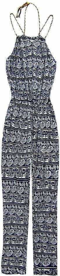 Dlouhý vzorovaný tmavě modrý overal (9689) - XL (42) - námořnická modrá