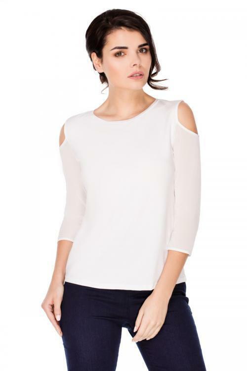 Dámská halenka Violana Colette krátký rukáv - white - M - bílá