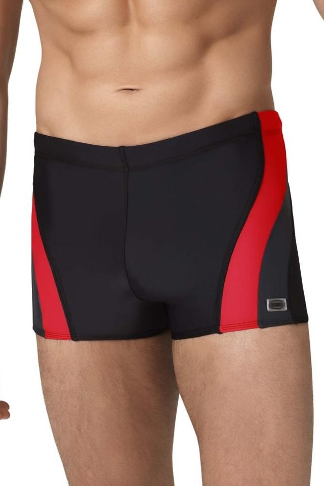 Pánské boxerkové plavky Philip2 černočervené - M