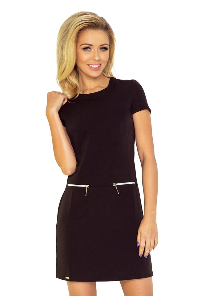 Černé dámské šaty se dvěma zipy 134-1 - L