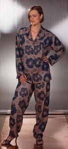 Saténové pyžamo 011201 Mary - Sophia - L - modrohnědá