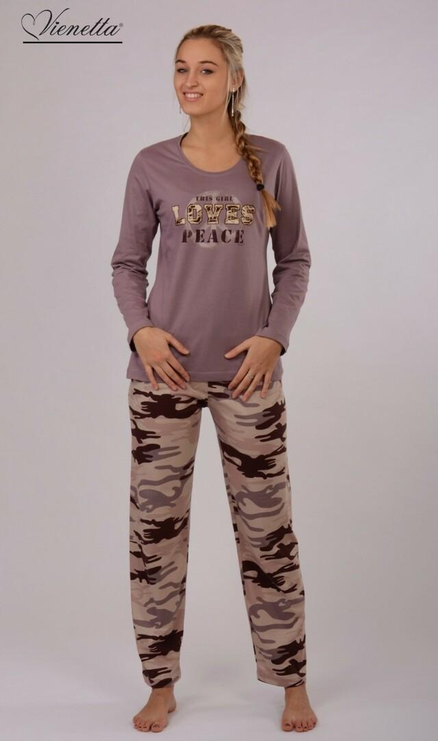 Dámské pyžamo dlouhé Army - růžová XL