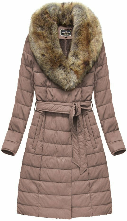 Růžový dámský zimní kabát (5528) - XXL (44) - růžová