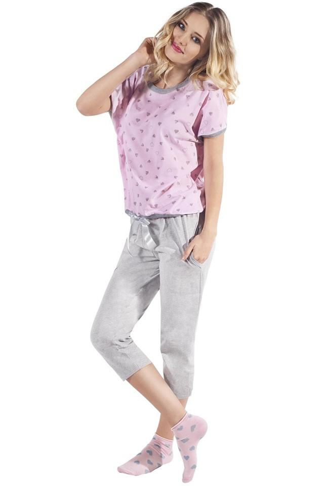 Dámské pyžamo Italian Fashion Celia kr.r. sp.3/4 - L - růžová/žíhaná