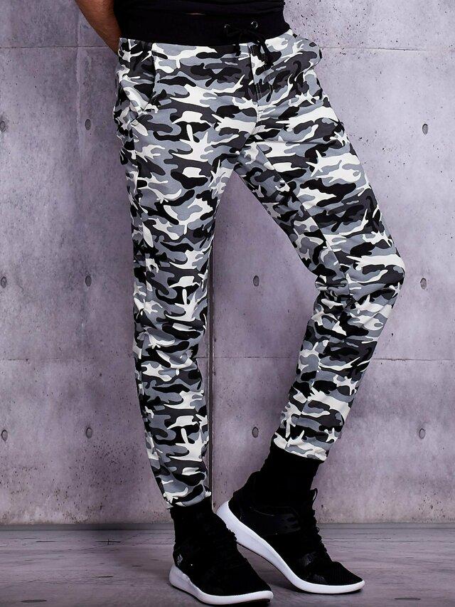 Pánské bílé běžecké kalhoty s vojenským vzorem - S