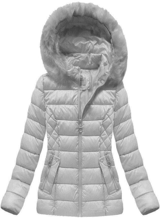 Šedá dámská zimní bunda (B1035-30) - S (36) - šedá