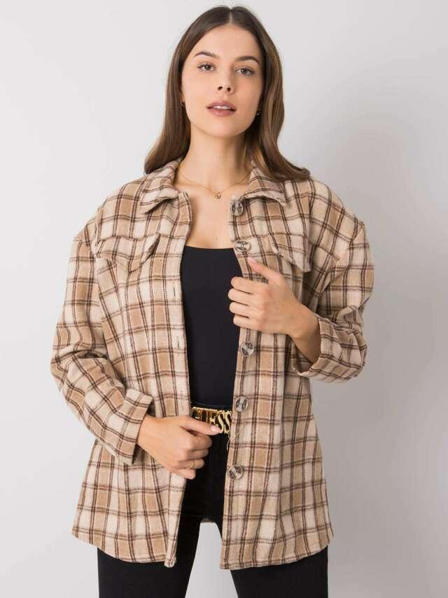 Béžová kostkovaná košile - S