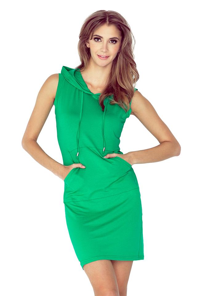Zelené šaty s kapucí a klokankou krátké MM 009-4 - S
