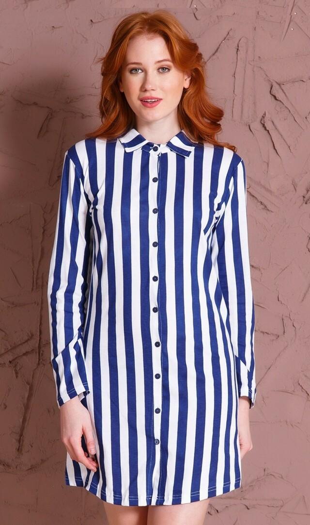 Dámská noční košile s dlouhým rukávem Jana - modrá L